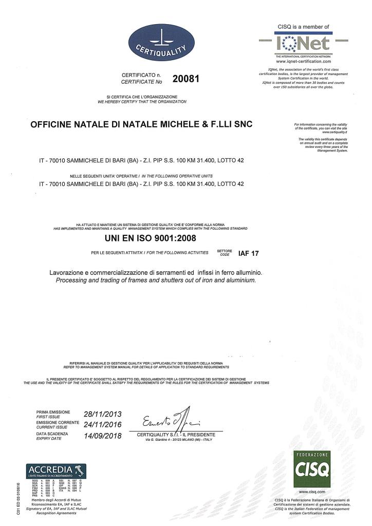 Certificato ISO 9001 2016 Pagina 1