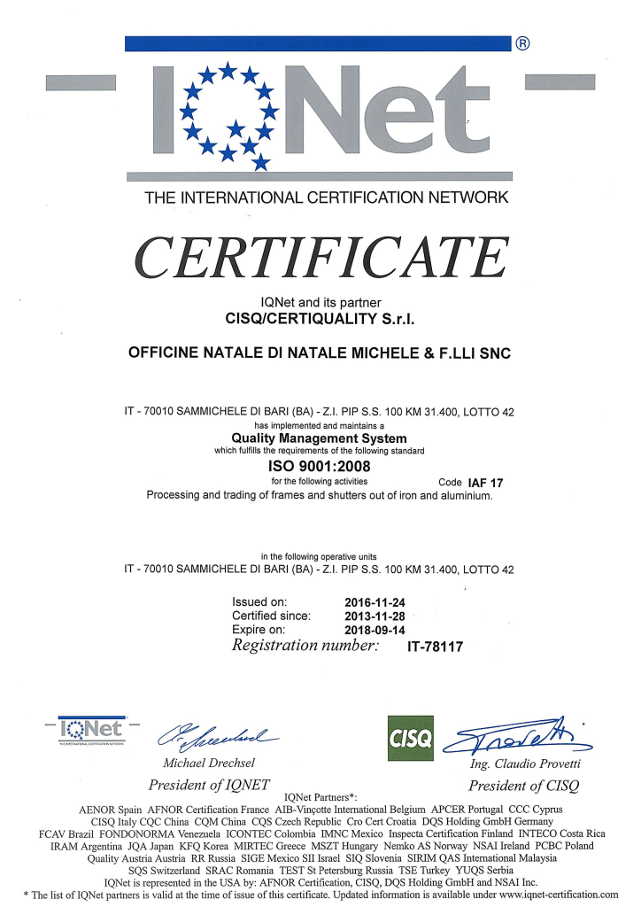 Certificato ISO 9001 2016 Pagina 2